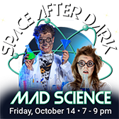 Man and woman dressed as mad scientists