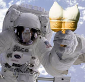 Picture of astronaut in spacesuit holding ice cream
