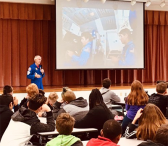 Photo of Bob Springer speaking to students
